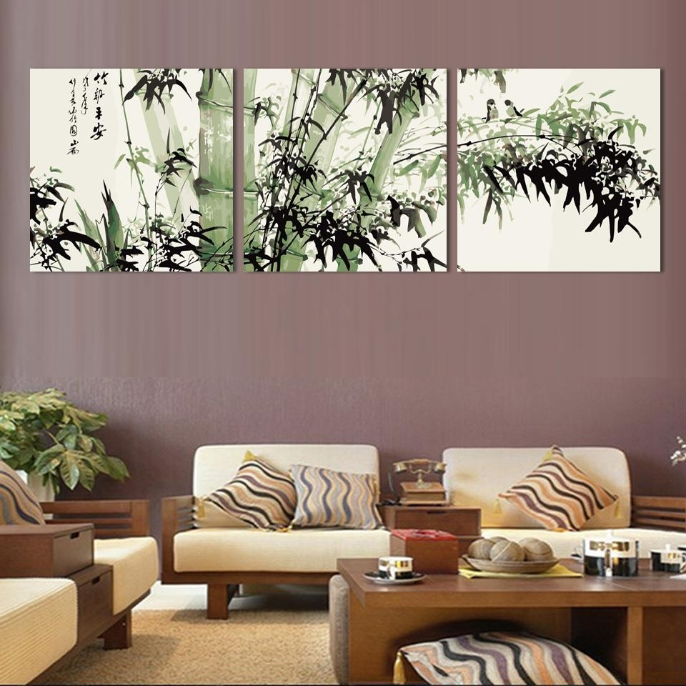 Bamboo Canvas Wall Art Landscape Painting 3 Pieces Large Bamboo Wall In Bamboo Wall Art (View 15 of 20)