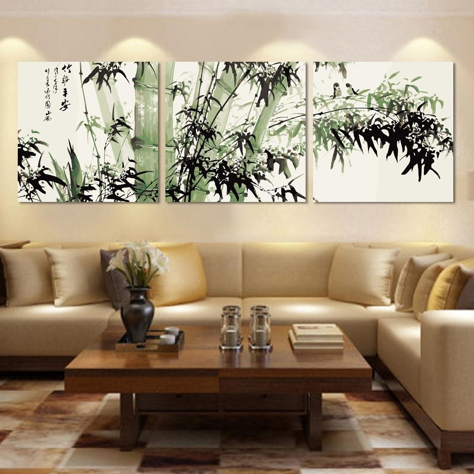 Bamboo Canvas Wall Art Landscape Painting 3 Pieces Large Bamboo Wall In Bamboo Wall Art (View 10 of 20)
