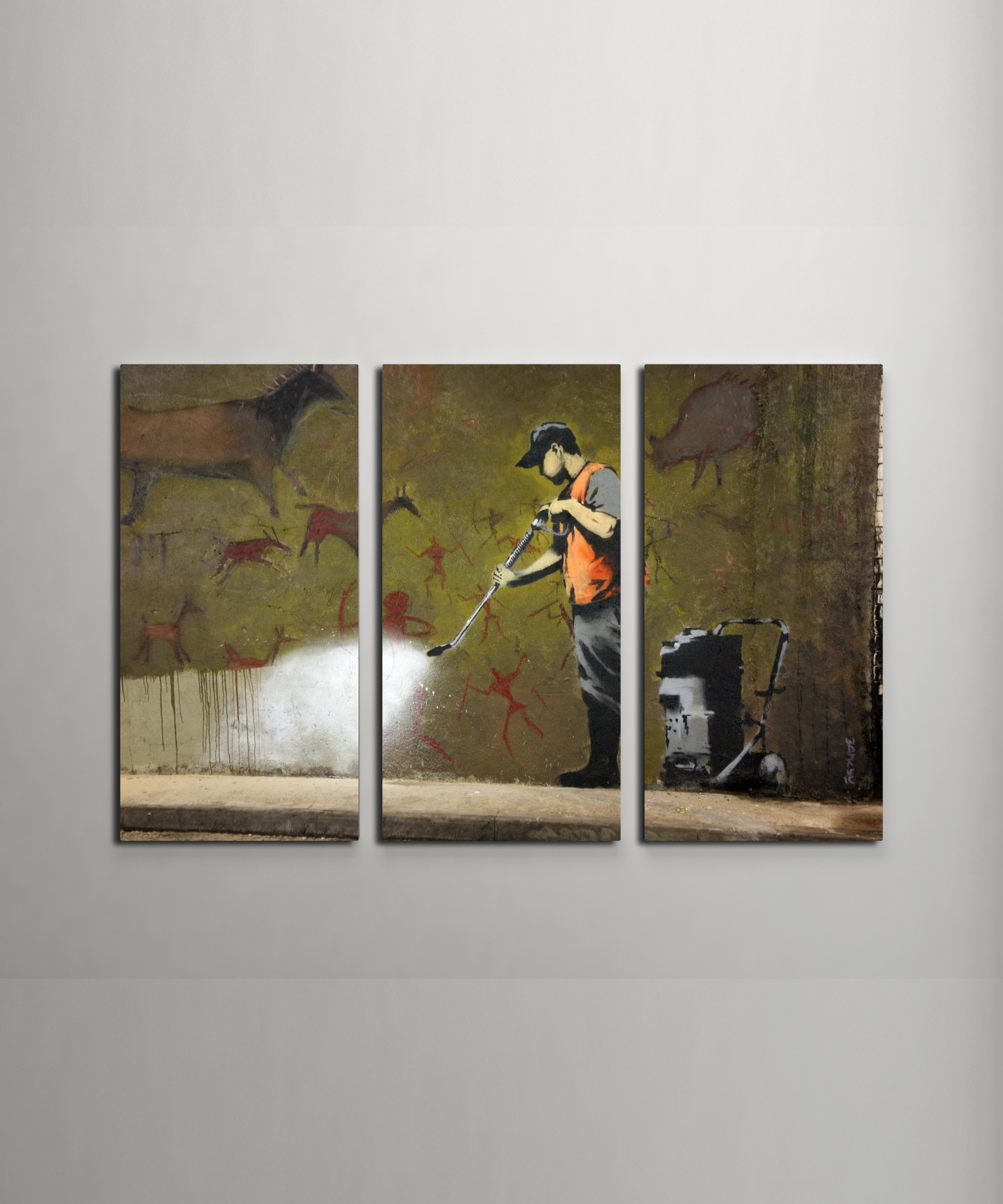 Banksy Cave Painting Canvas Triptych Wall Art with regard to Triptych Wall Art (Image 4 of 20)