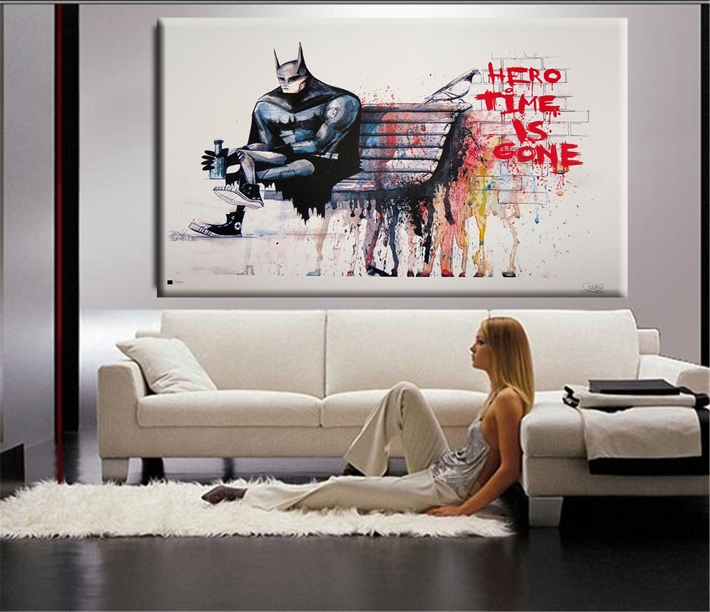 Banksy Hero Time Is Gone Canvas Art Print Home Huge Canvas Painting Throughout Huge Wall Art (View 2 of 20)