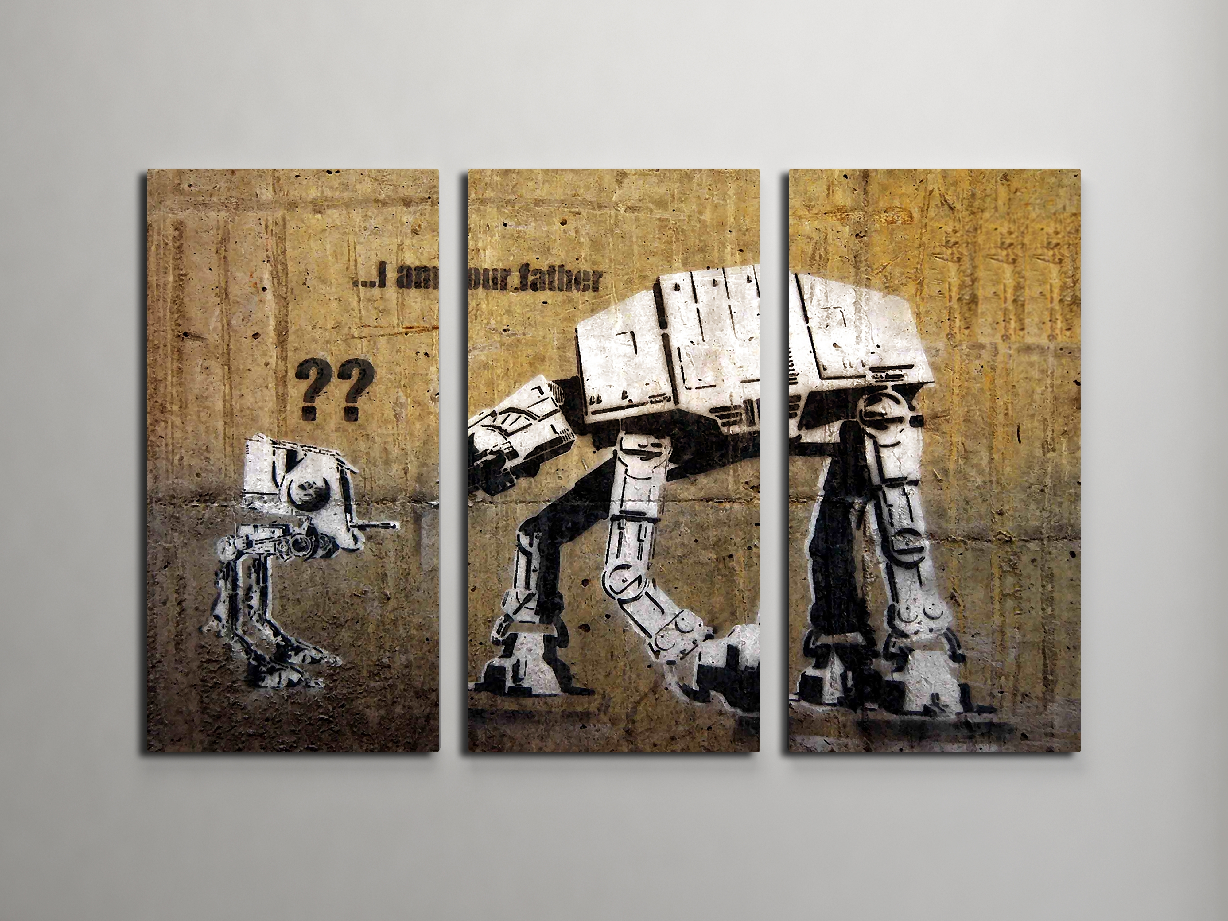 Banksy I Am Your Father (Star Wars) Triptych Canvas Wall Art pertaining to Canvas Wall Art (Image 8 of 20)