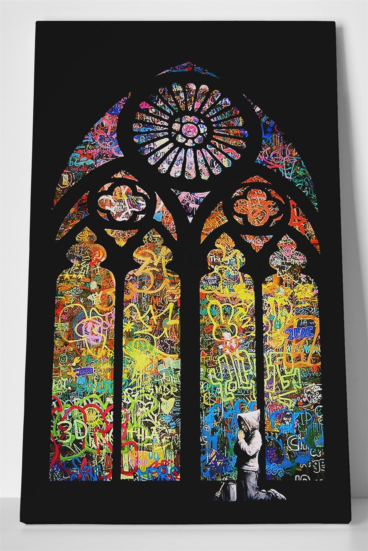 Banksy Stained Glass Box Canvas Print Wall Art – Church Window Throughout Stained Glass Wall Art (View 4 of 20)