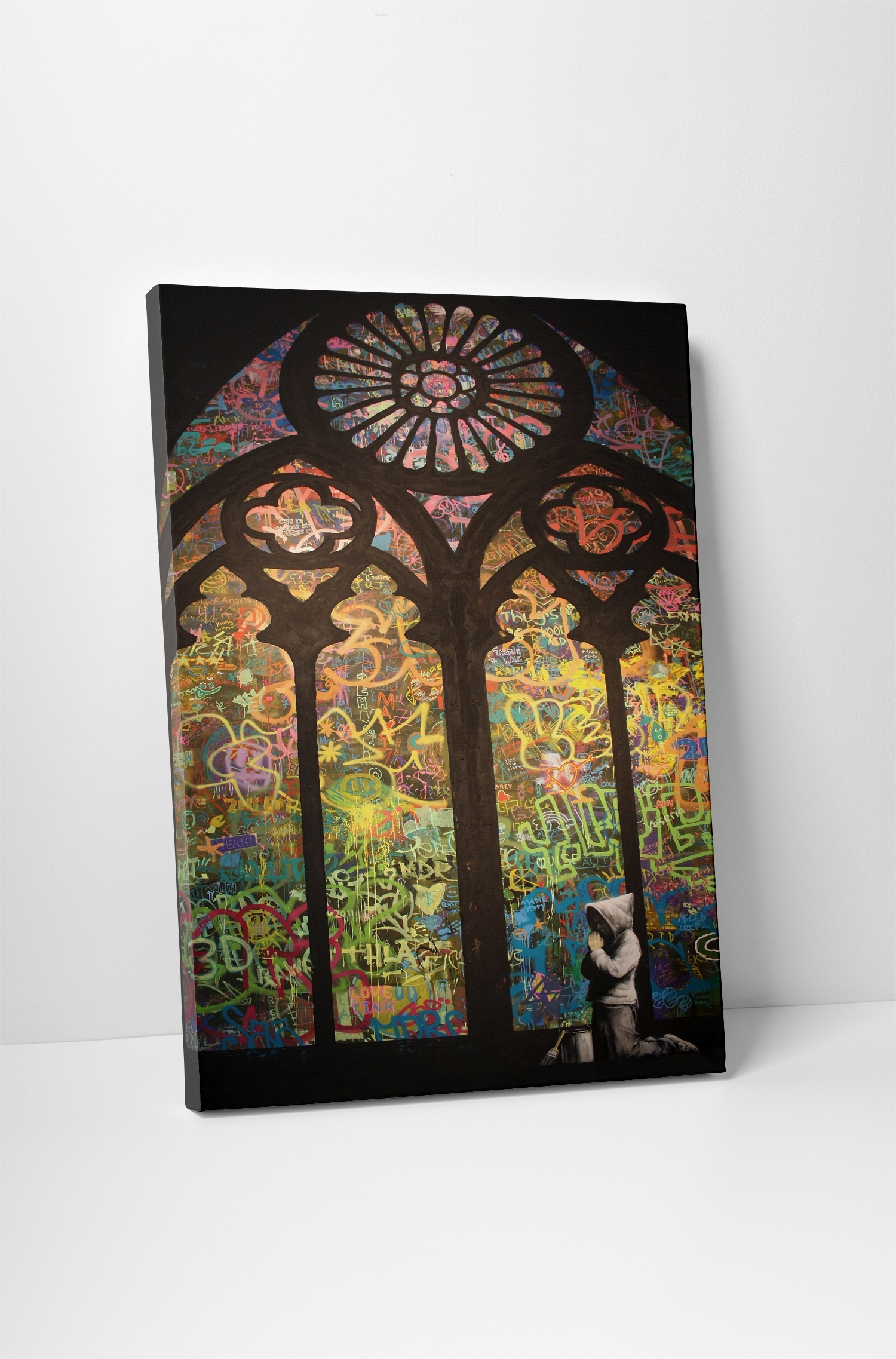 Banksy Stained Glass Cathedral Canvas Wall Art Within Stained Glass Wall Art (View 5 of 20)