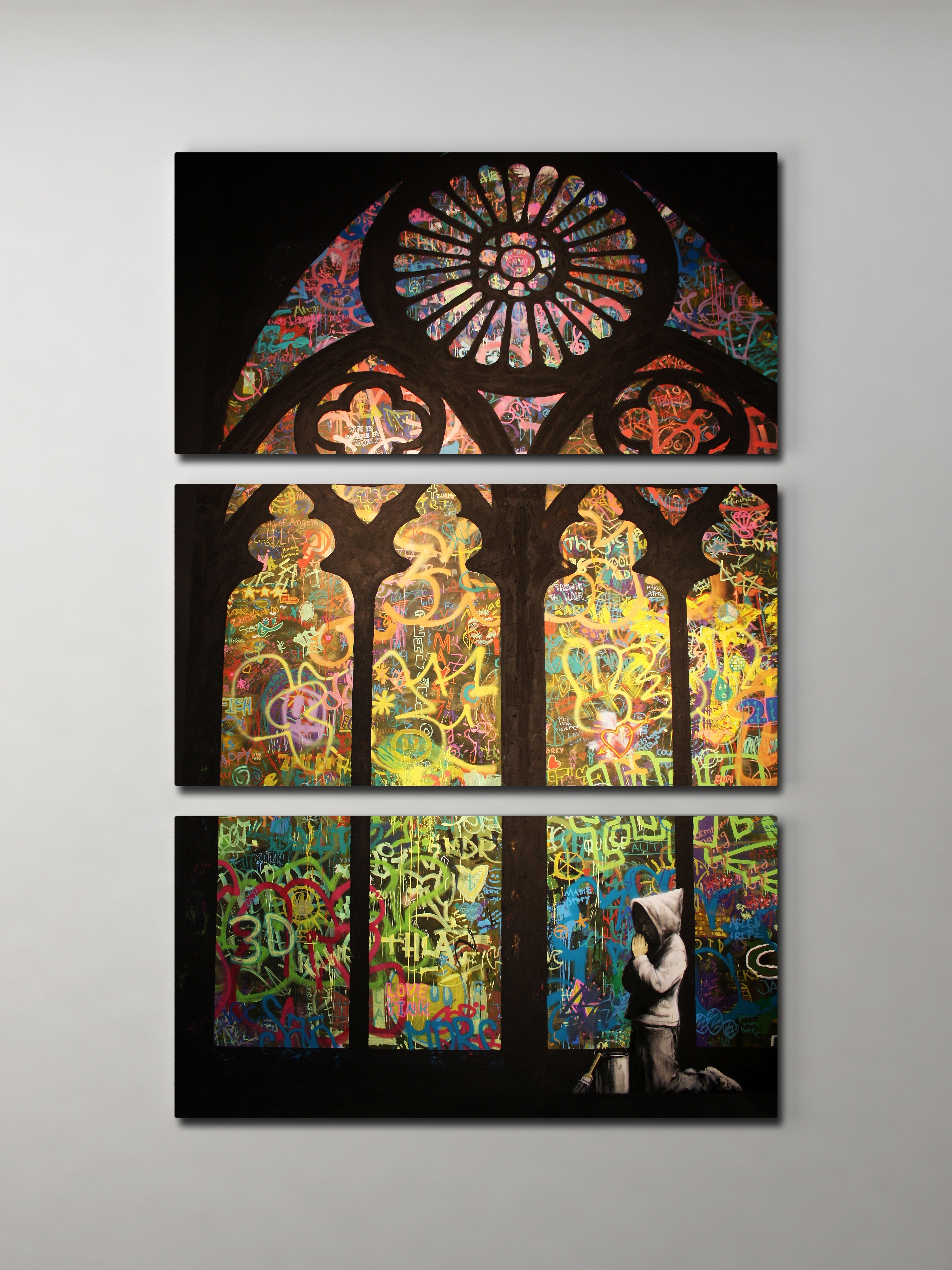 Banksy Stained Glass Cathedral Triptych Canvas Wall Art with Glass Wall Art (Image 2 of 20)