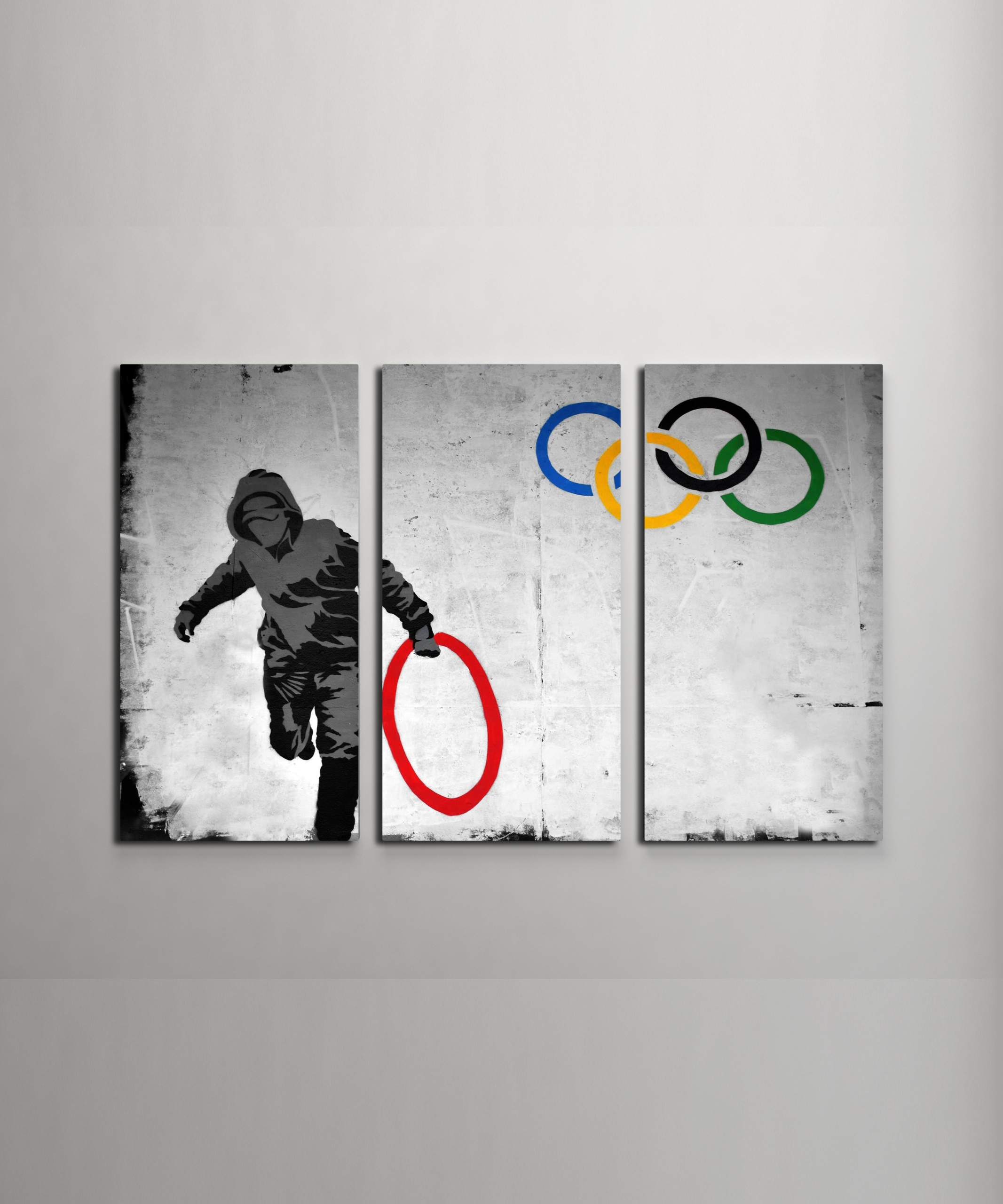 Banksy Stolen Olympic Rings Canvas Triptych Wall Art with Triptych Wall Art (Image 9 of 20)