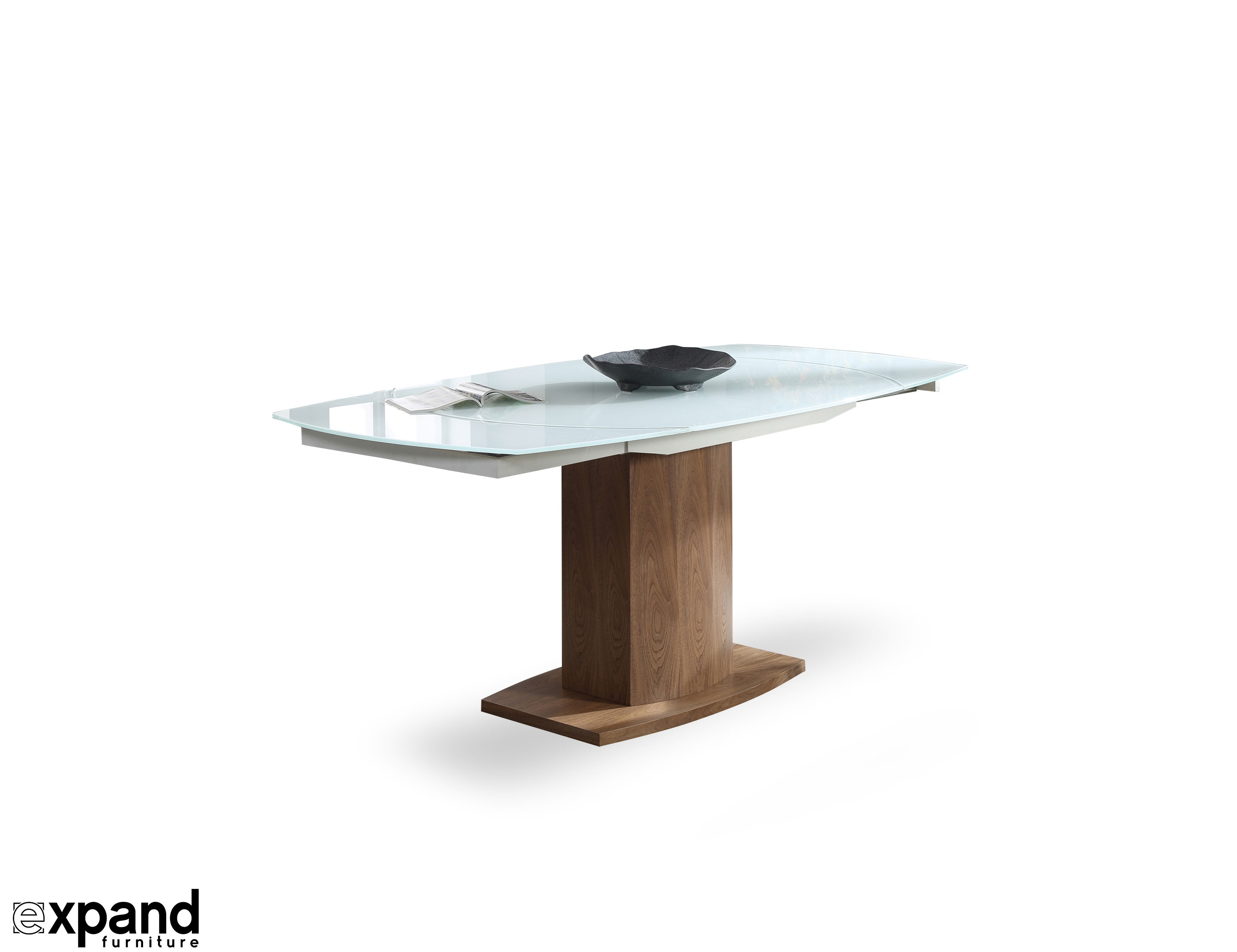 Baobab: Oval Glass White Extendable Kitchen Table With Spin Rotating Coffee Tables (View 6 of 30)