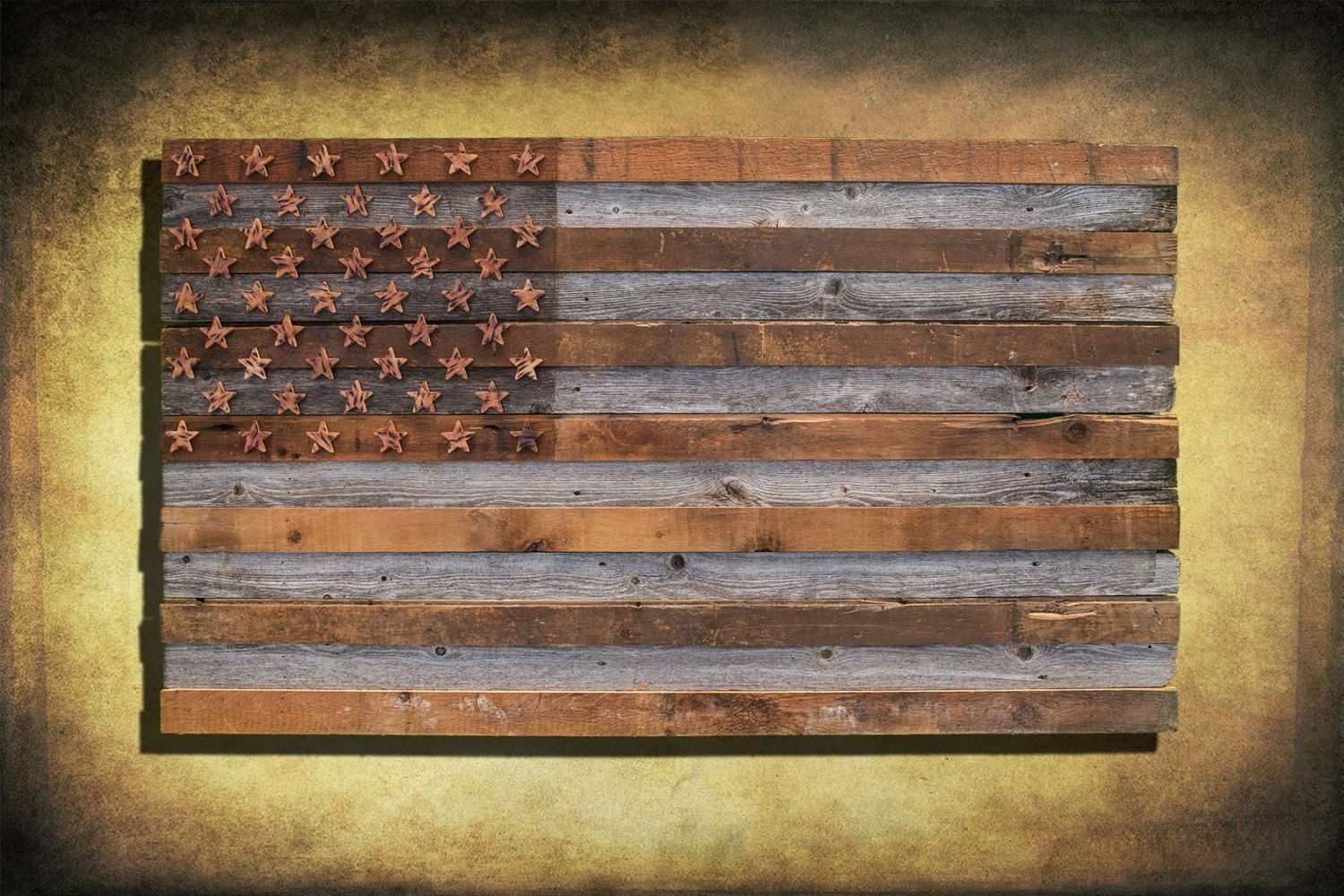 Barnwood American Flag, 100 Year Old Wood, One Of A Kind, 3d, Wooden Pertaining To Rustic American Flag Wall Art (View 10 of 20)