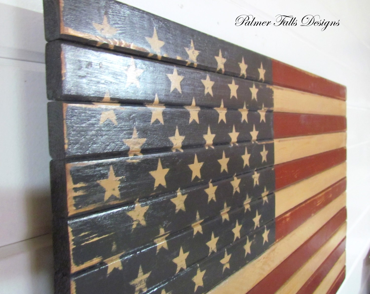 Barnwood American Flag 100 Year Old Wood One Of A Kind 3D Wooden within Vintage American Flag Wall Art (Image 5 of 20)