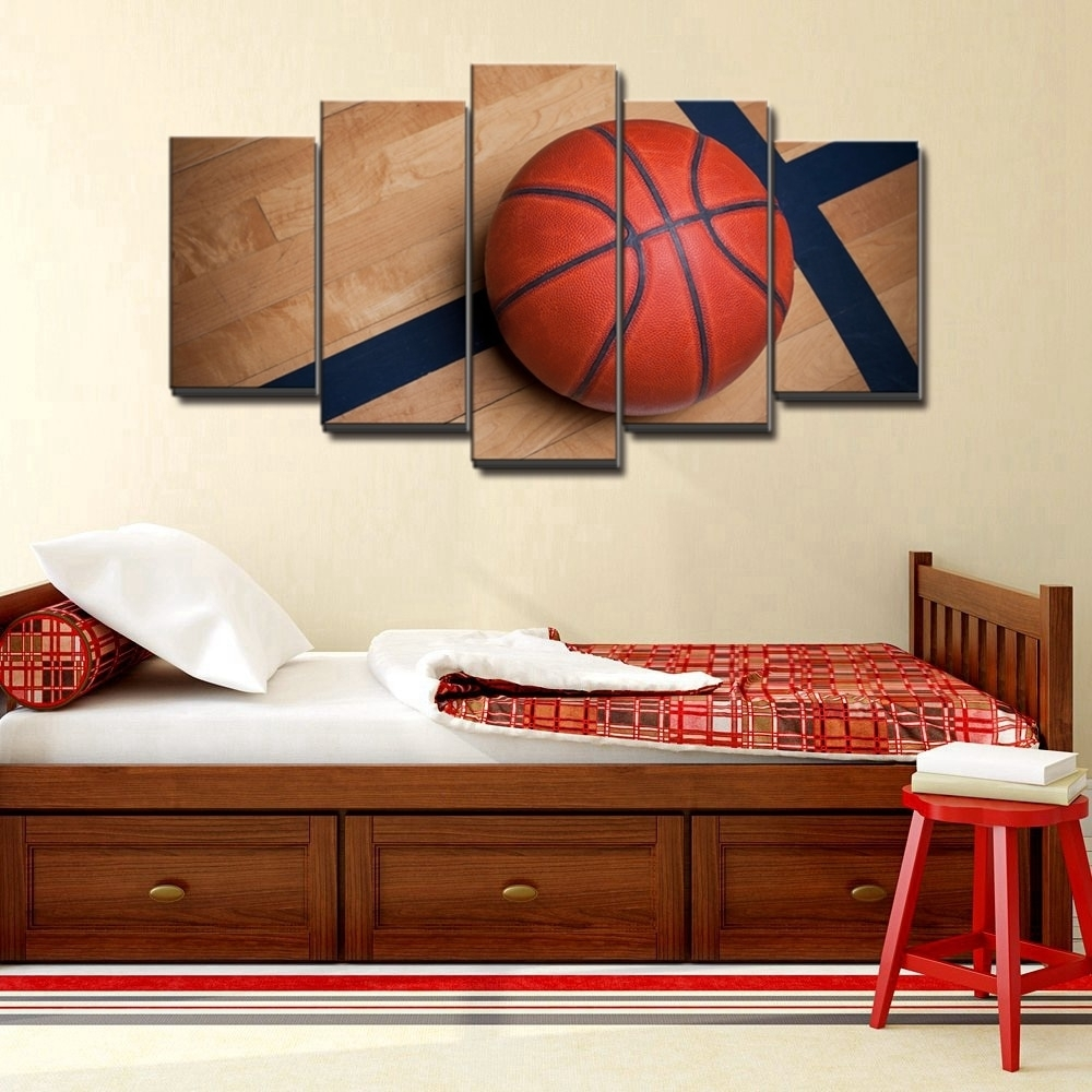 Basketball Sports Canvas Wall Art For Boys Bedroom Decor Kids Room With Sports Wall Art (View 5 of 20)