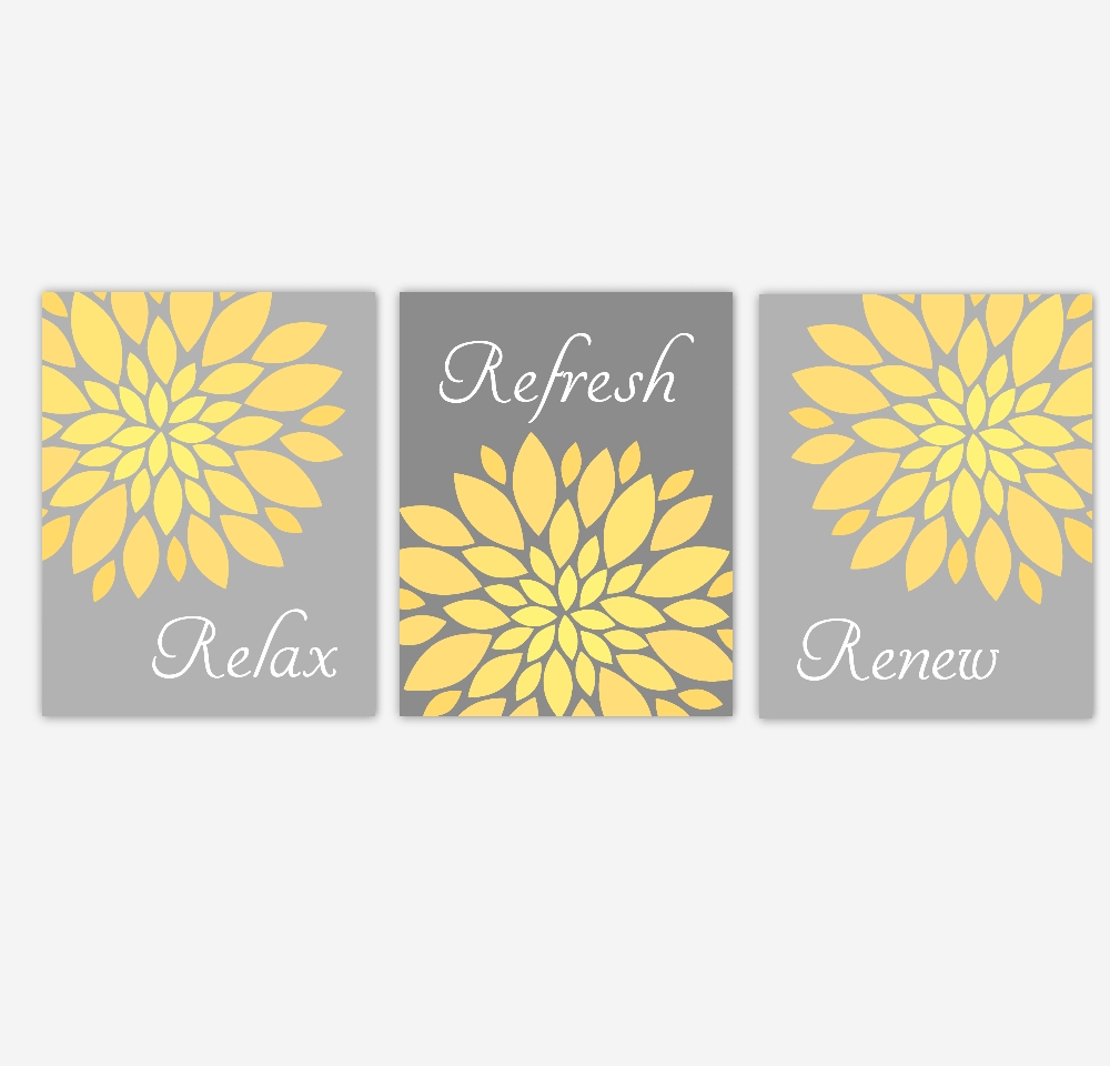 Bathroom Canvas Wall Art Yellow Gray Grey Relax Refresh Renew Flower regarding Bathroom Canvas Wall Art (Image 7 of 20)