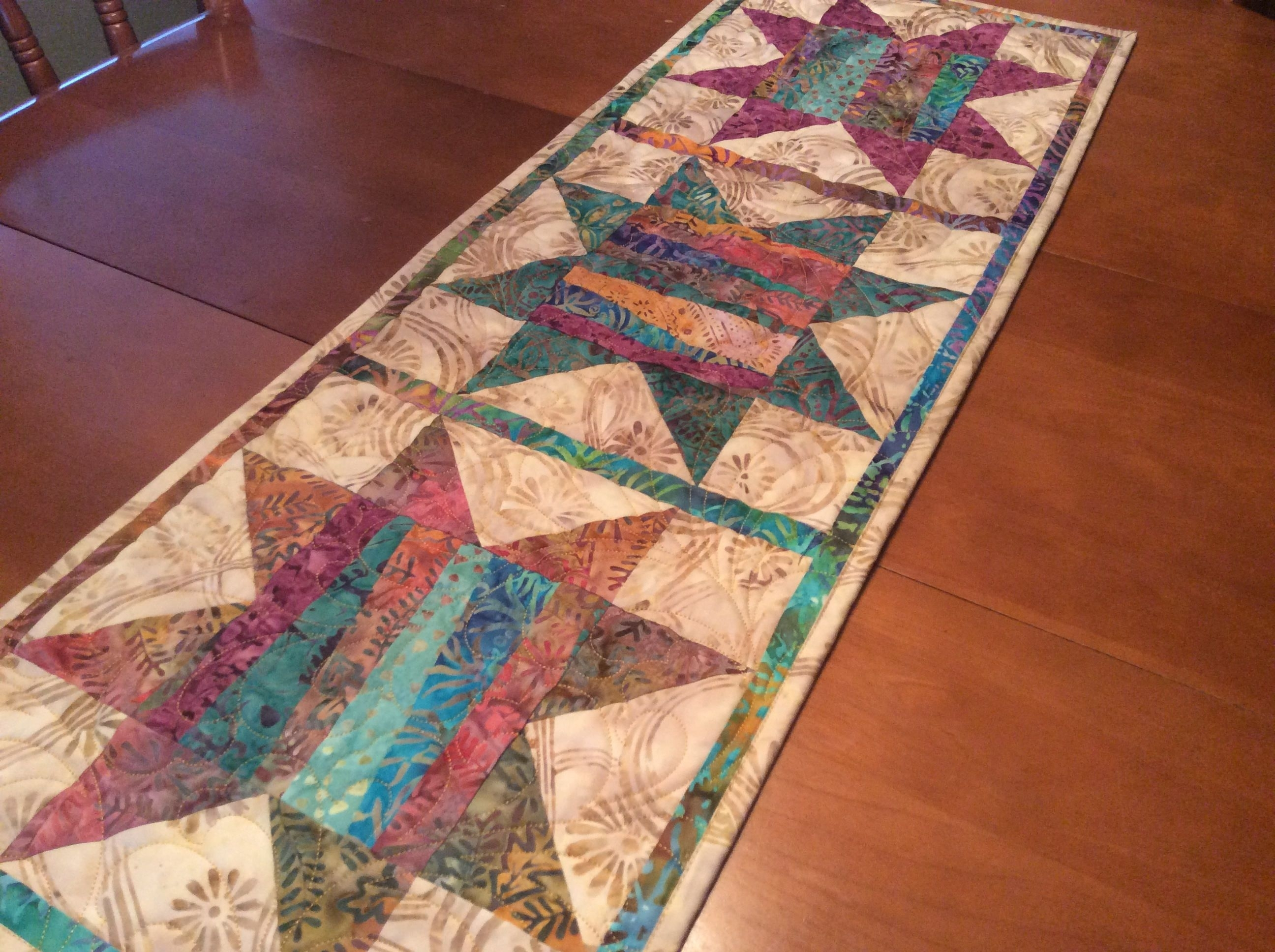 Batik Table Runner, Quilted Traditional Star Table Topper, Colourful regarding Batik Coffee Tables (Image 7 of 30)
