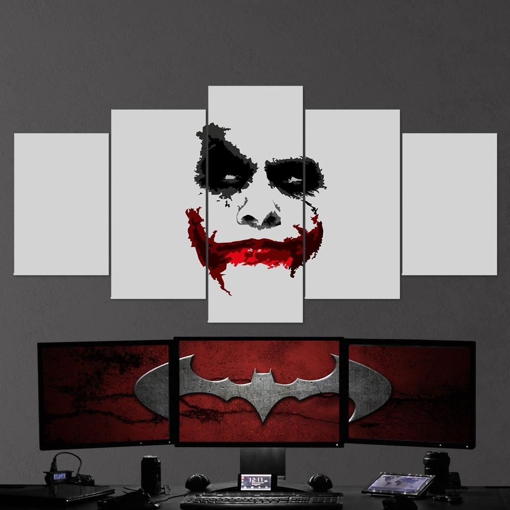 Batman 15 Joker Minimalism 5 Piece Canvas Wall Art Gaming Canvas intended for Joker Wall Art (Image 6 of 20)