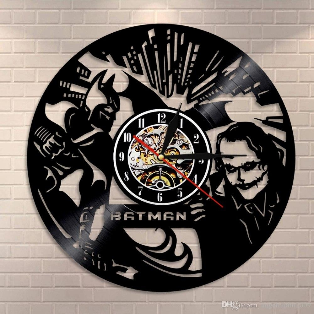 Batman Jester6 Vintage Vinyl Record Wall Clock Classic 3D Wall Art throughout Art Deco Wall Clock (Image 8 of 20)