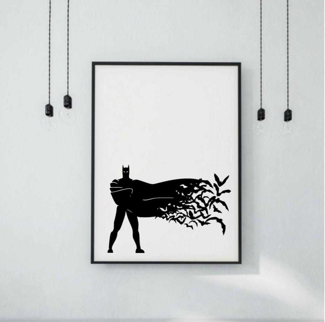 Batman Print Printable Wall Art Batman And Bats Silhouette Printable For Batman Wall Art (View 16 of 20)