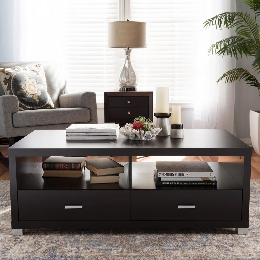 Baxton Studio Derwent Contemporary Dark Brown Wood Coffee Table intended for Contemporary Curves Coffee Tables (Image 5 of 30)