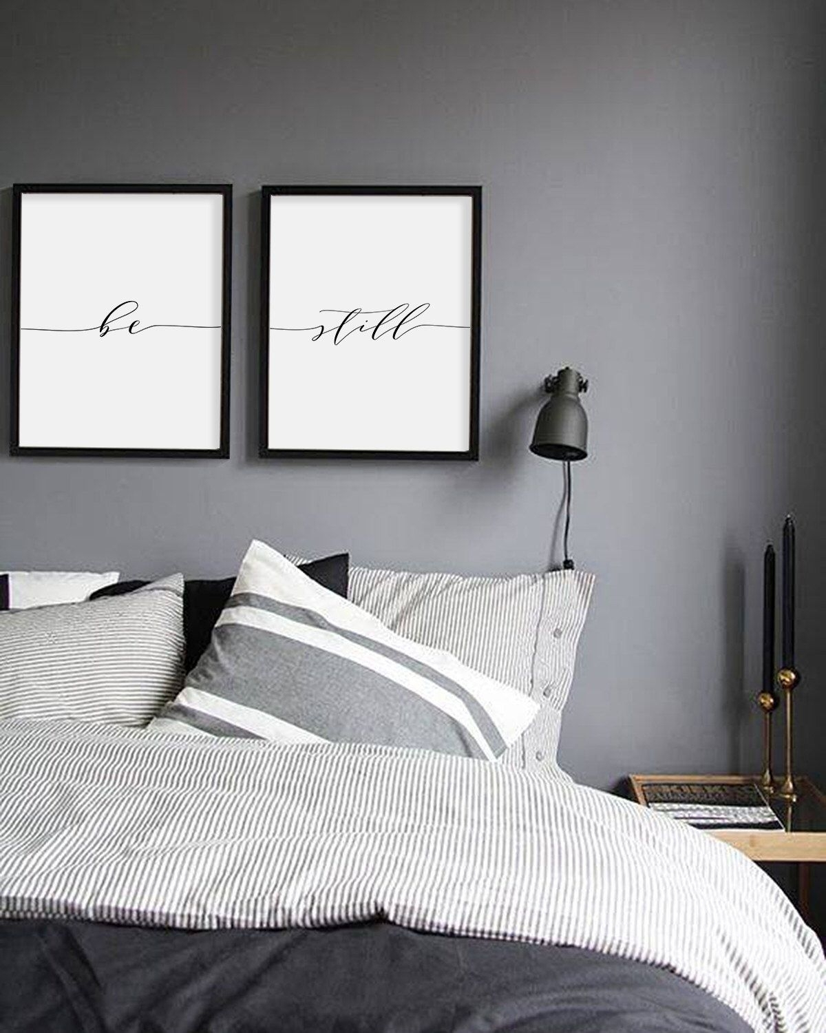 Be Still Print, Minimalist Typography Art, Bedroom Print, Be Still with Bedroom Wall Art (Image 5 of 20)