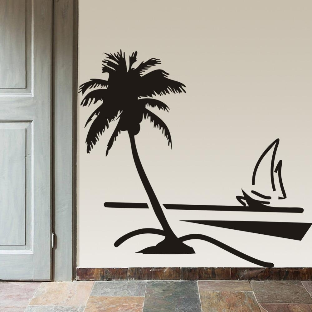 Beach Coconut Palm Tree Sailboat Wall Art Bathroom Glass Modern Art for Palm Tree Wall Art (Image 4 of 20)