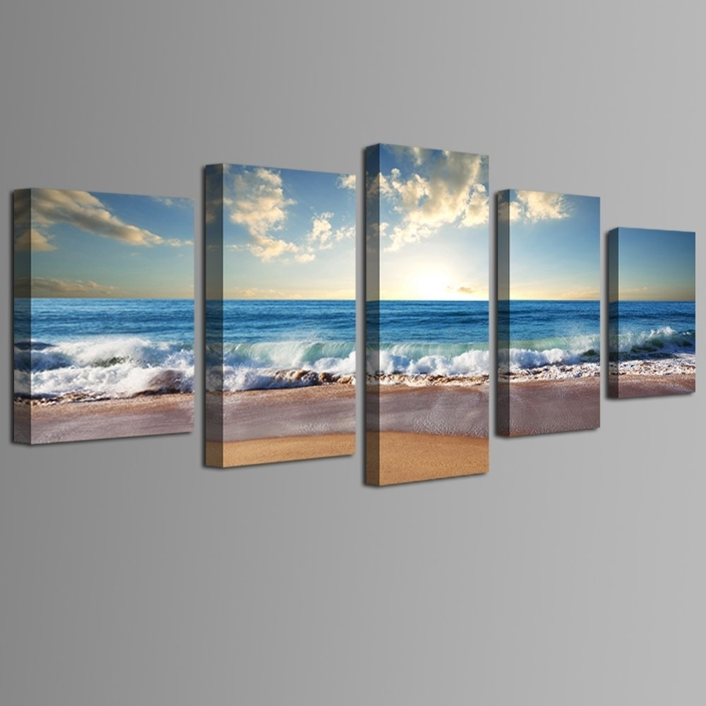 Beach Ocean Seascape 5 Panel Framed Canvas Print Wall Art, Ocean for Ocean Wall Art (Image 8 of 20)