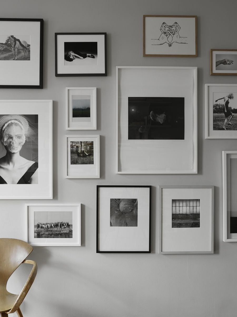 Beautiful Black And White Picture Wall On A Light Grey Wall with regard to Grey and White Wall Art (Image 6 of 20)