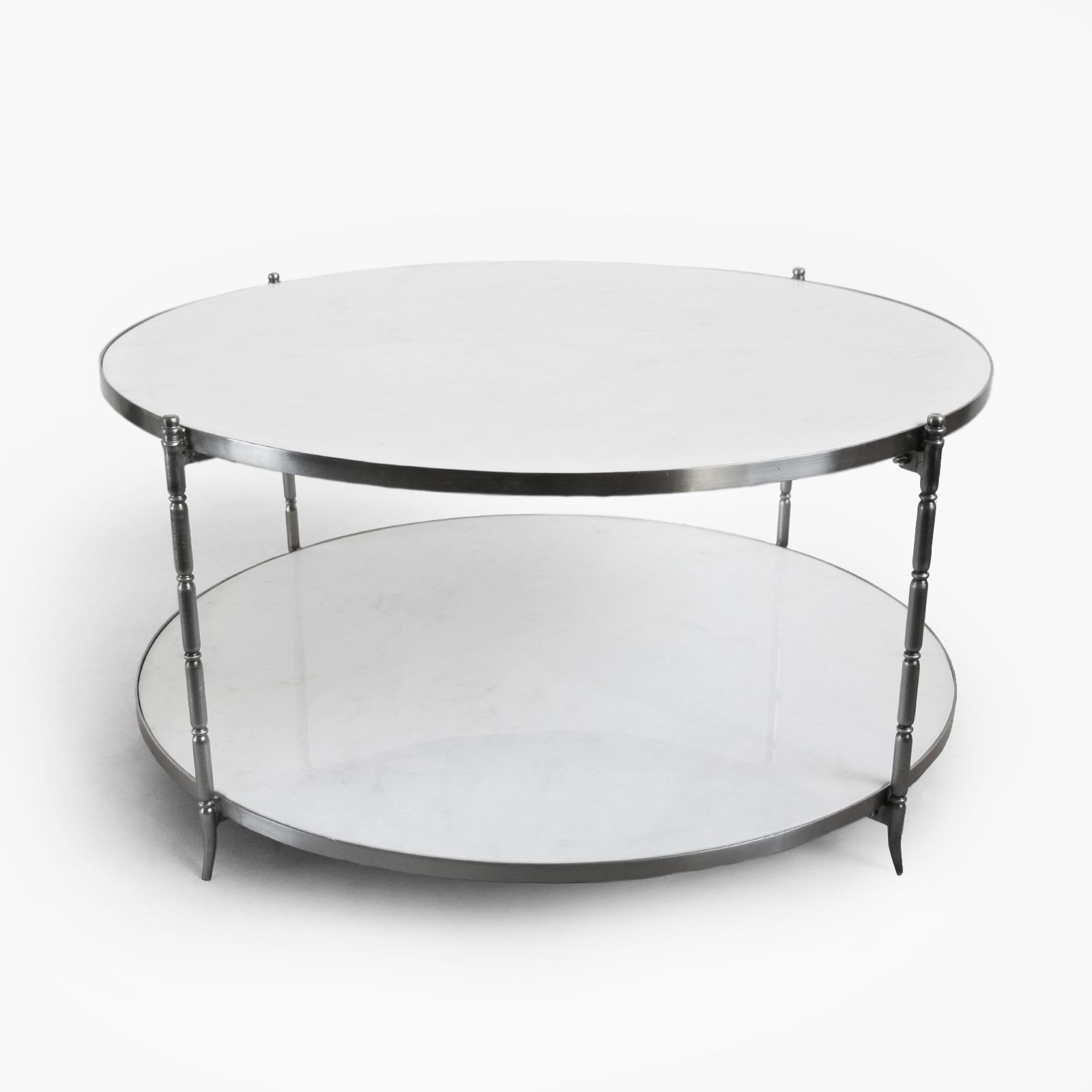 Beautiful Modern White Marble Round Coffee Table With Brushed Nickel inside Modern Marble Iron Coffee Tables (Image 3 of 30)