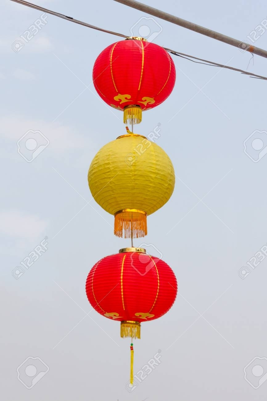 Beautiful Red & Yellow Asian Lanterns On Outdoor Stock Photo for Yellow Outdoor Lanterns (Image 6 of 20)