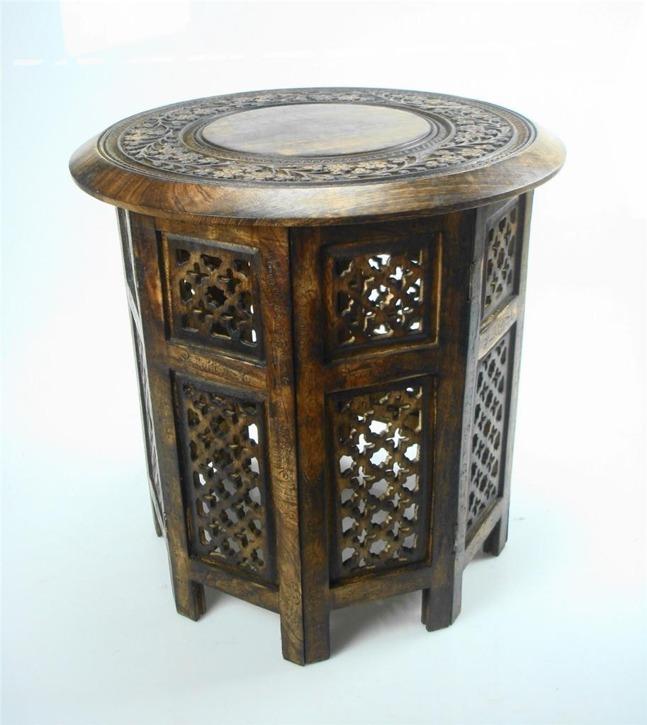 Beautiful Round Brown White Hand Carved Indian Shesham Wooden Coffee with Round Carved Wood Coffee Tables (Image 3 of 30)