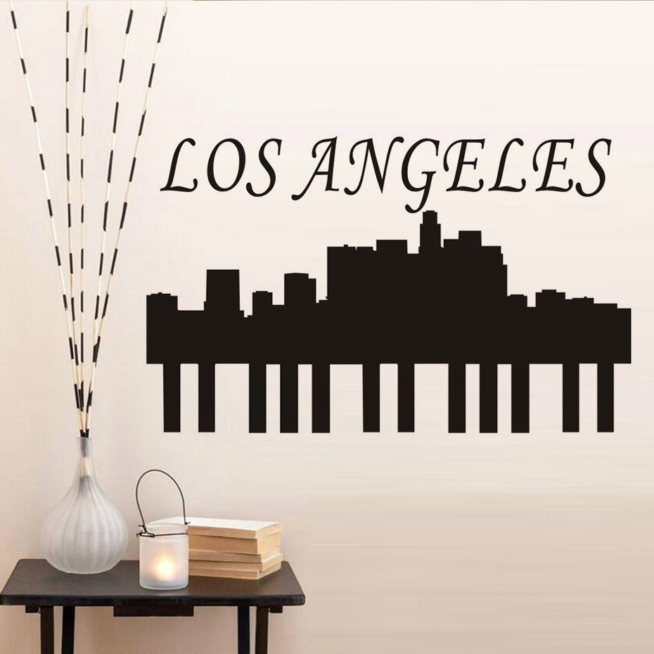 Beauty City Los Angeles Wall Sticker City Silhouette New Design Wall Within Los Angeles Wall Art (View 20 of 20)