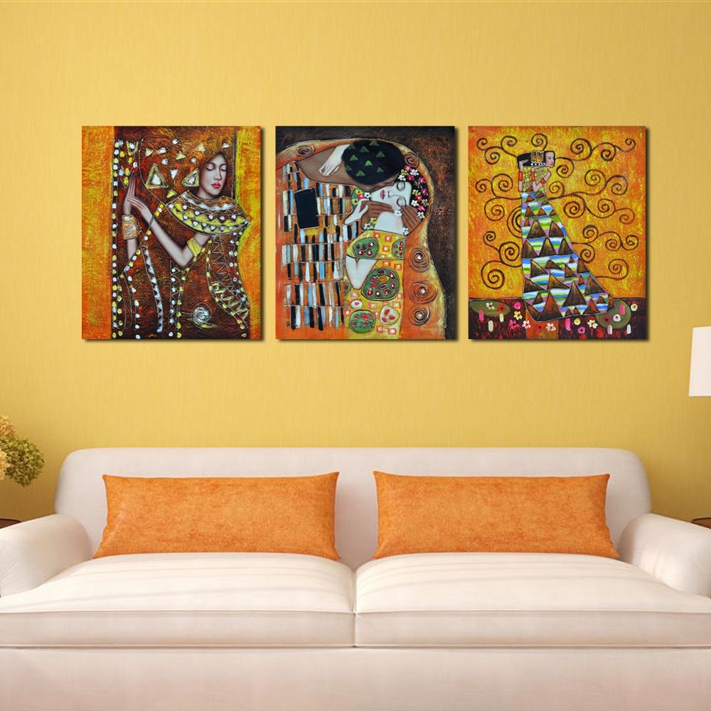 Bedroom Famous Artist Art Deco Kiss Abstract Cheap Modern Canvas Regarding Art Deco Wall Art (View 8 of 20)