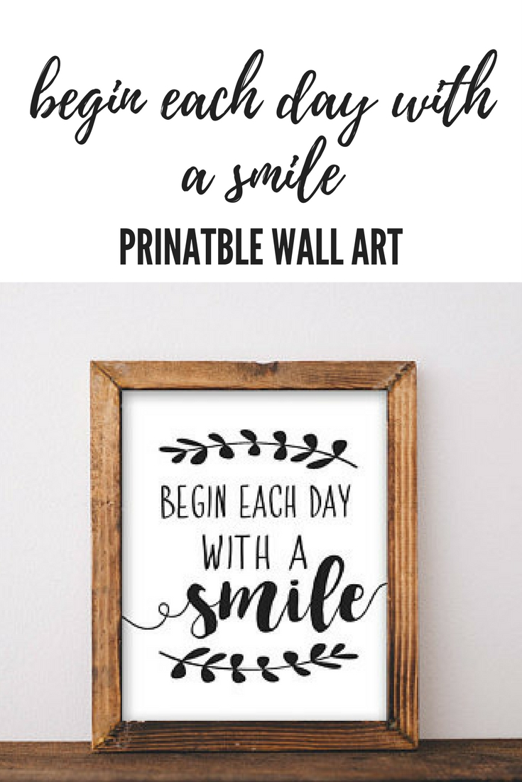 Begin Each Day With A Smile Motivational Wall Art Quote #affiliate intended for Motivational Wall Art (Image 2 of 20)