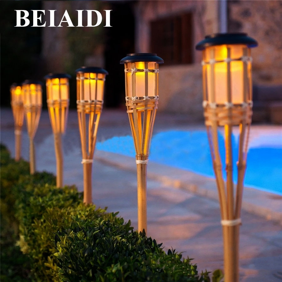 Beiaidi 10Pcs Solar Spike Spotlight Lamps Handmade Bamboo Tiki Intended For Outdoor Bamboo Lanterns (View 6 of 20)