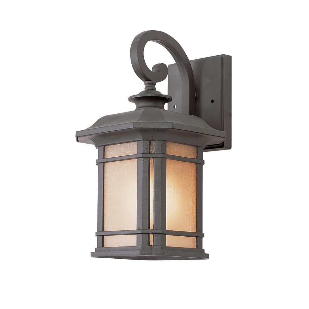 Bel Air Lighting 1-Light Black Outdoor Wall Lantern With Tea Stained with regard to Modern Outdoor Lanterns (Image 2 of 20)