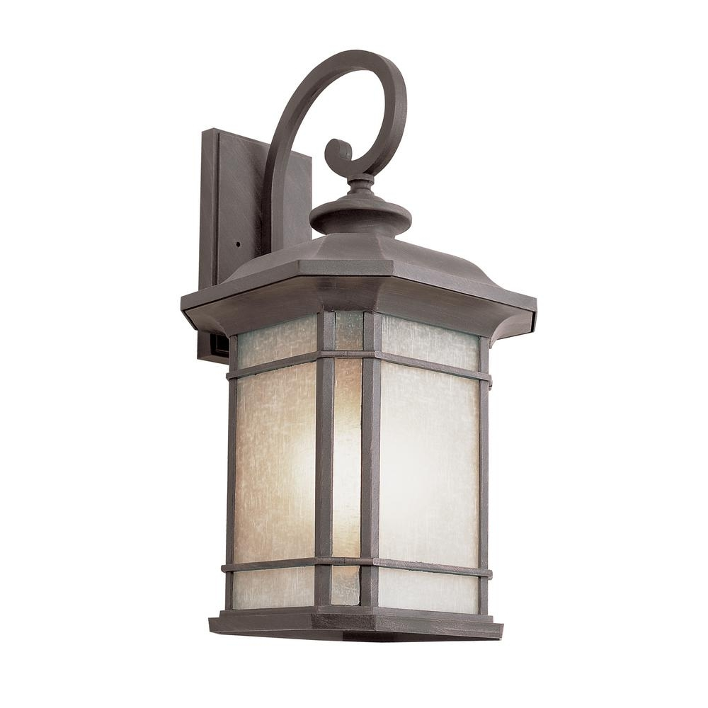 Bel Air Lighting 1-Light Fluorescent Outdoor Rust With Tea Stained in Outdoor Glass Lanterns (Image 3 of 20)