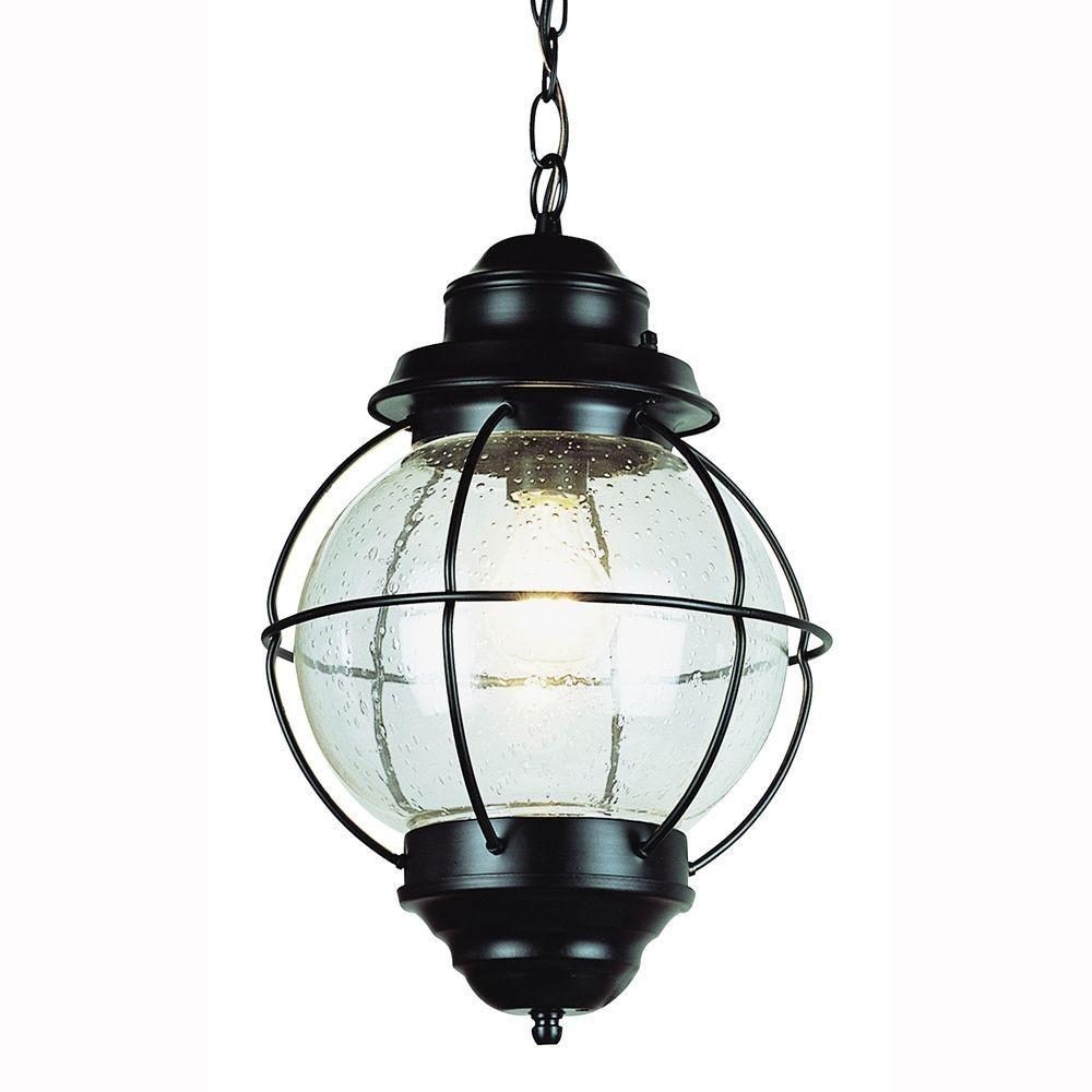 Bel Air Lighting Lighthouse 1-Light Outdoor Hanging Black Lantern inside Outdoor Lighting Japanese Lanterns (Image 3 of 20)