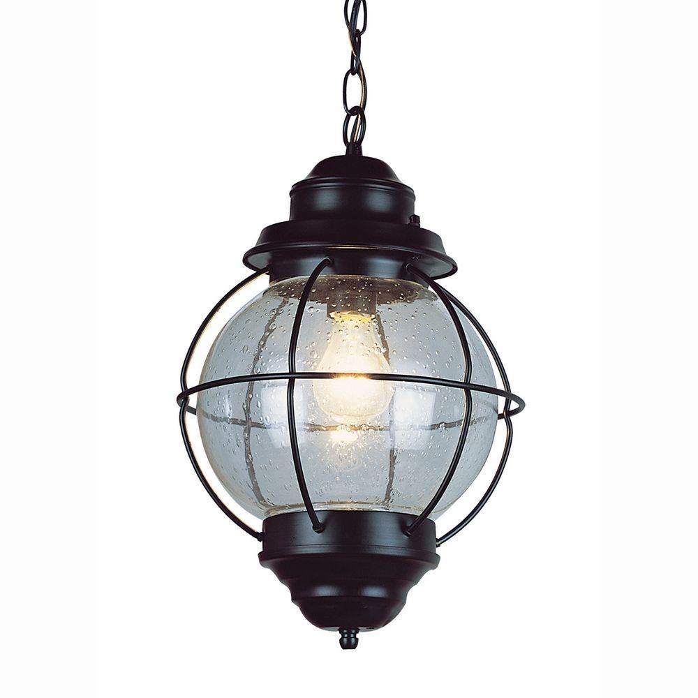 Bel Air Lighting Lighthouse 1-Light Outdoor Hanging Black Lantern regarding Outdoor Nautical Lanterns (Image 1 of 20)
