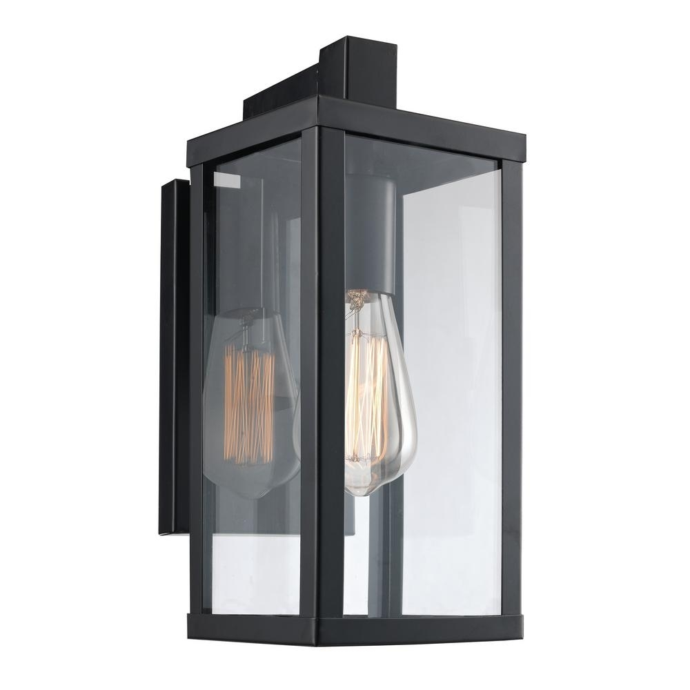 Bel Air Lighting Oxford 1-Light Black Outdoor Wall Mount Lantern throughout Outdoor Lanterns And Sconces (Image 3 of 20)
