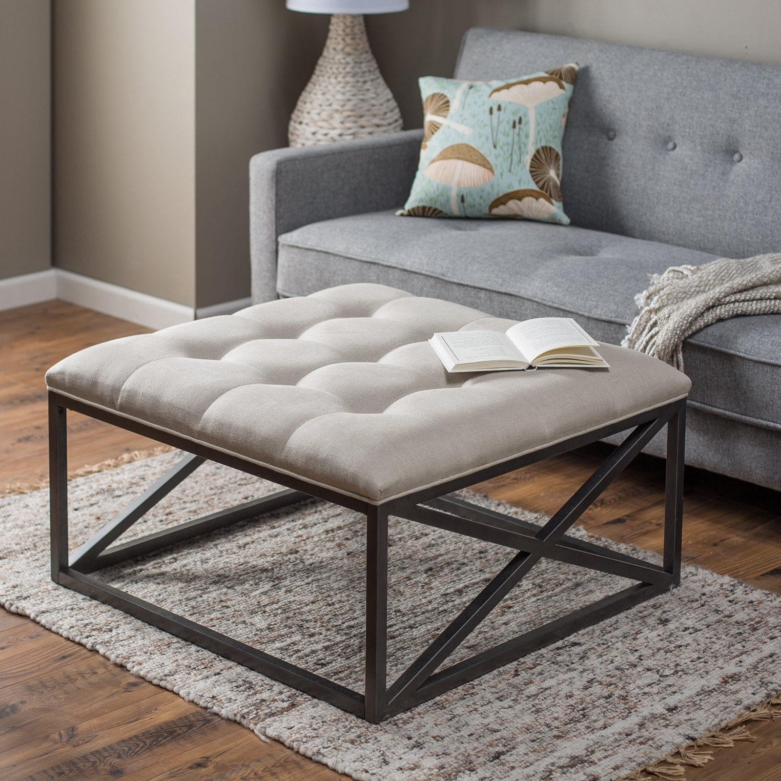 Belham Living Grayson Tufted Coffee Table Ottoman | Hayneedle for Round Button Tufted Coffee Tables (Image 3 of 30)
