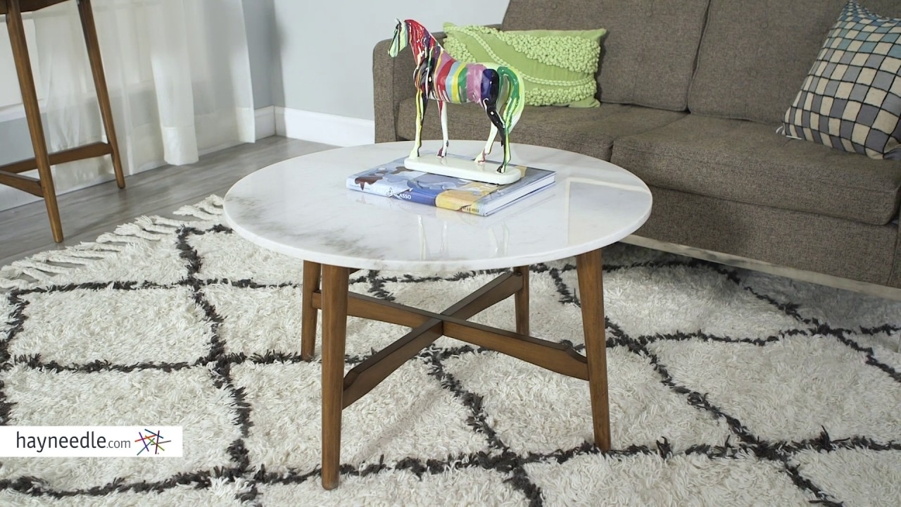 Belham Living James Round Mid Century Modern Marble Coffee Table for Mid-Century Modern Marble Coffee Tables (Image 5 of 30)
