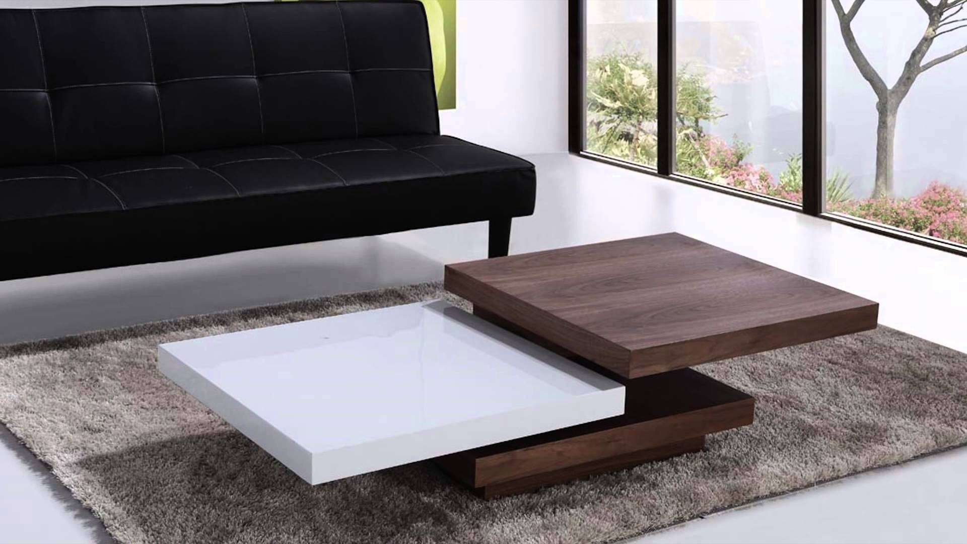 Beliani Coffee Table – Swivel Panels – Walnut And White – Aveiro With Regard To Spin Rotating Coffee Tables (View 7 of 30)