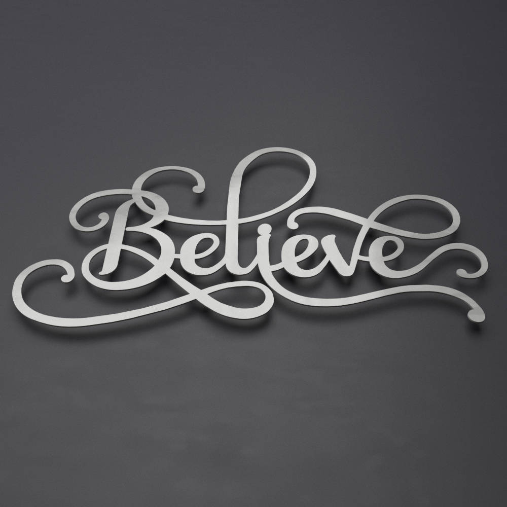 Believe Sign Word Art Metal Wall Art Metal Decor | Etsy throughout Contemporary Metal Wall Art (Image 6 of 20)