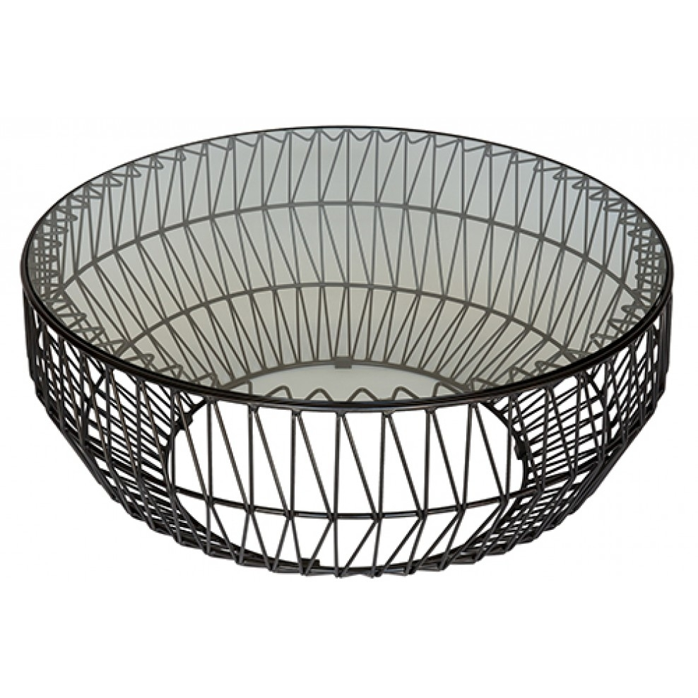 Bend Wire Coffee Table Replica - Black Frame - Clear intended for Black Wire Coffee Tables (Image 2 of 30)