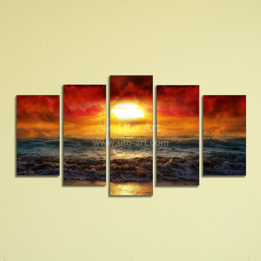 Best Cheap 5 Panel Wall Art Painting Ocean Beach Decor Canvas Prints For Cheap Canvas Wall Art (View 6 of 20)