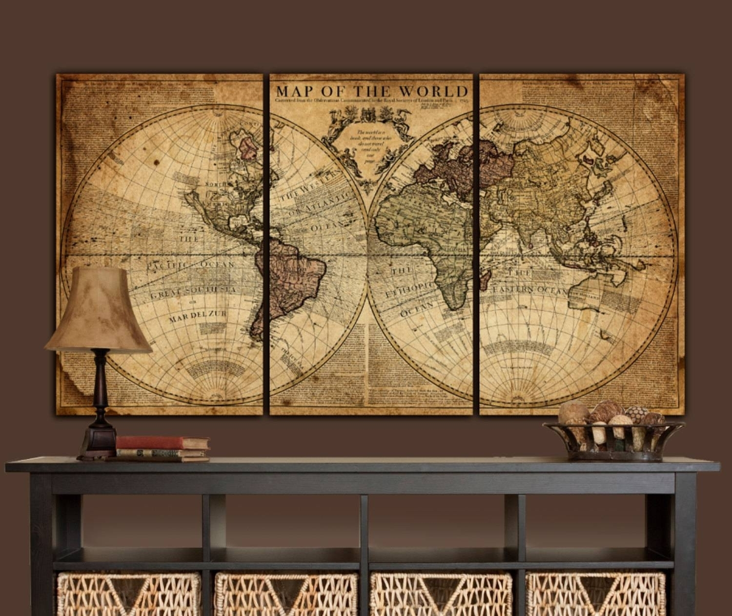 Best Collection Of Large World Map Wall Art And Framed Maps The within Maps Wall Art (Image 6 of 20)