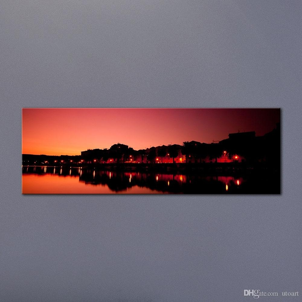 Best Guarantee Sunset Sky Town Landscape Canvas Painting Panoramic in Panoramic Wall Art (Image 2 of 20)