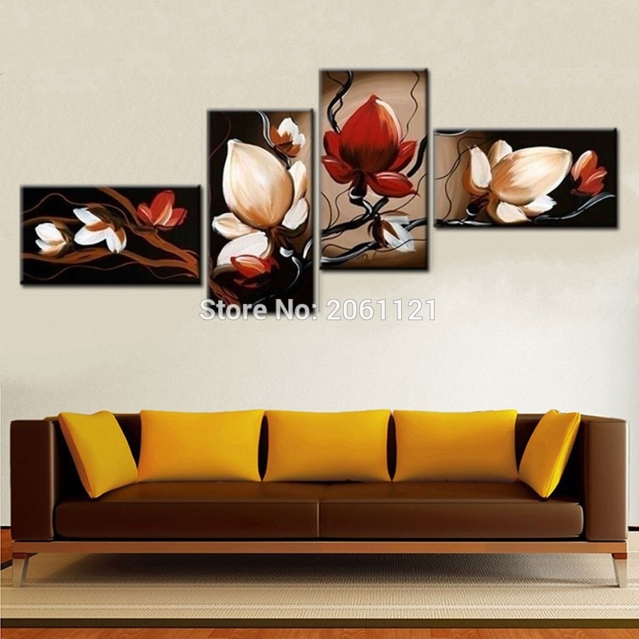 Best Sale Dark Red Flower Art Canvas Painting Oil Cheap Wall Art With Cheap Wall Art (View 4 of 20)