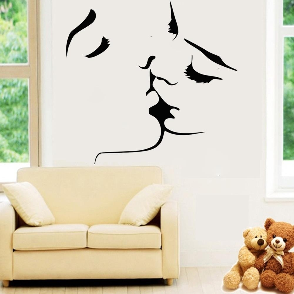 Best Selling Kiss Wall Stickers Home Decor 8468 Wedding Decoration throughout Home Decor Wall Art (Image 4 of 20)