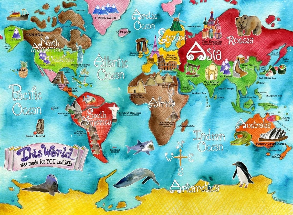 Best World Map For Kids Showing Photos Of Kids World Map Wall Art Inside World Map Wall Art For Kids (View 16 of 20)