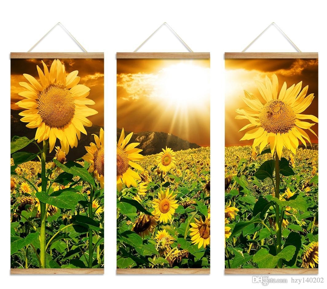Best Yijiahe Flowers Print Scroll Canvas Painting Sunflower Canvas pertaining to Sunflower Wall Art (Image 6 of 20)