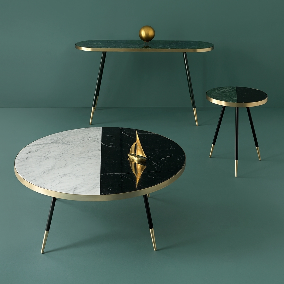 Bethan Gray's Marble Band Tables Are Edged In Brushed Brass With Regard To 2 Tone Grey And White Marble Coffee Tables (Photo 26 of 30)