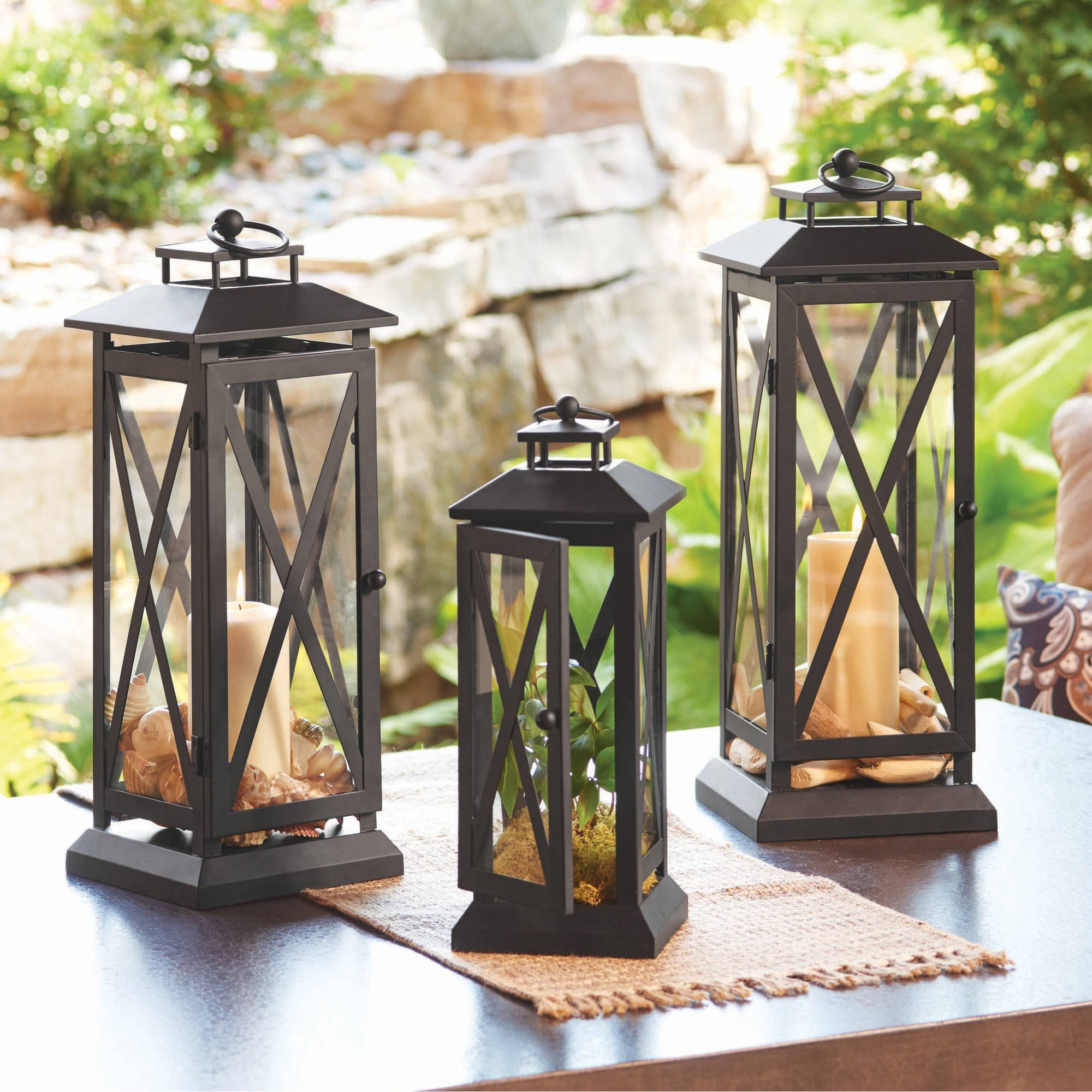 Better Homes And Gardens Crossbar Metal Outdoor Lantern - Walmart pertaining to Outdoor Patio Electric Lanterns (Image 4 of 20)