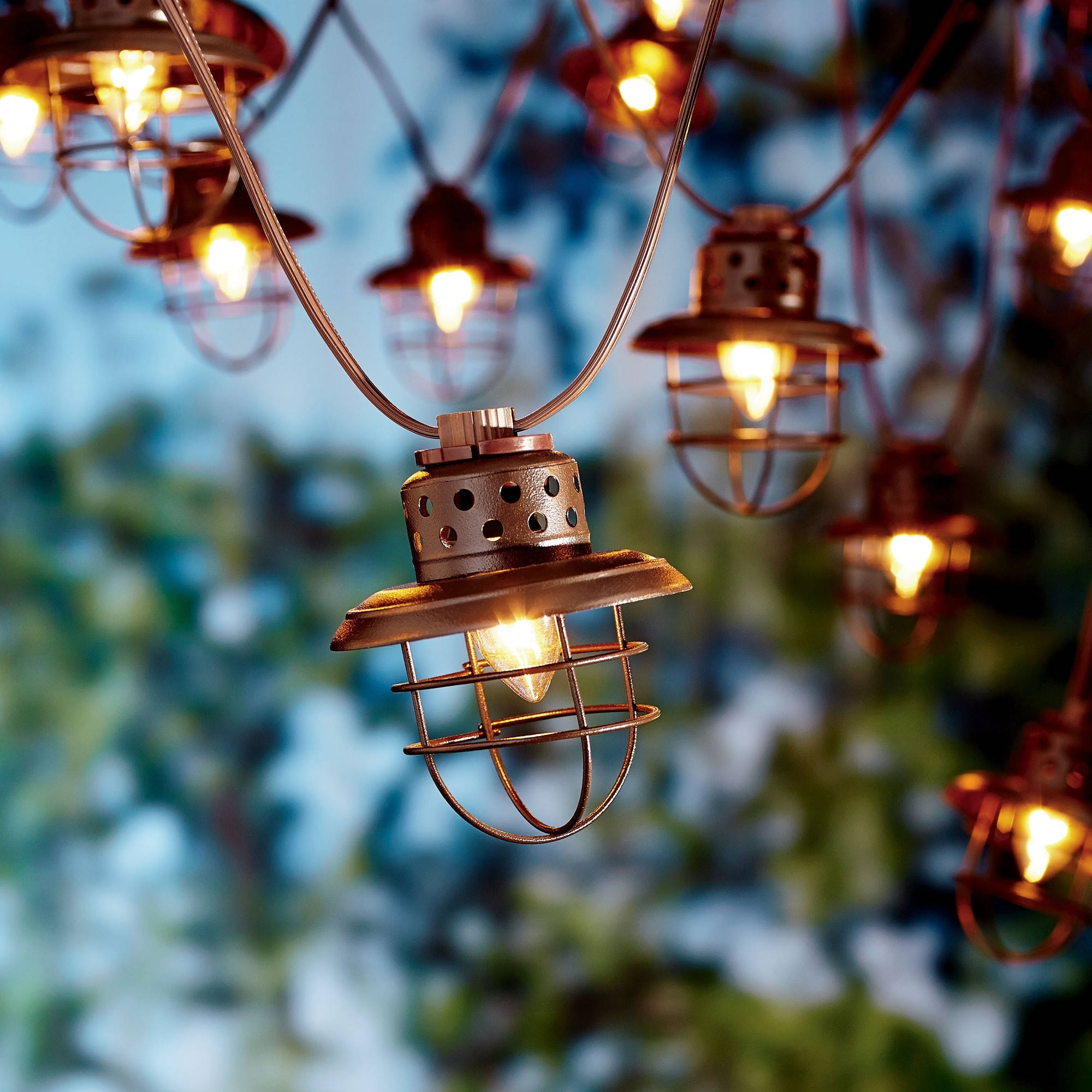 Better Homes And Gardens Outdoor Vintage Cage Lantern String Lights inside Outdoor Plastic Lanterns (Image 4 of 20)